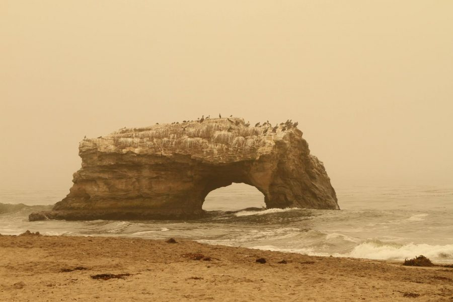 The effects of the California wildfires are evident at a nearby beach
