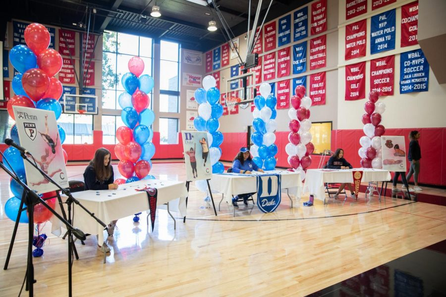 An image from Castilleja's college signing day in 2019 for the class of 2020