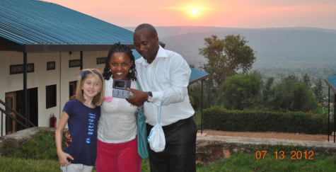 Moira King and her sister, Claudine, posing in Rwanda on July 13, 2012