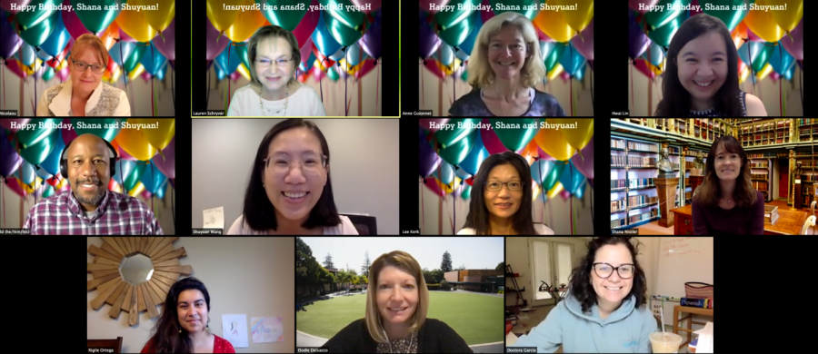 A group of Castilleja teachers comes together on Zoom to celebrate