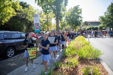 Students marched around campus during Castilleja
