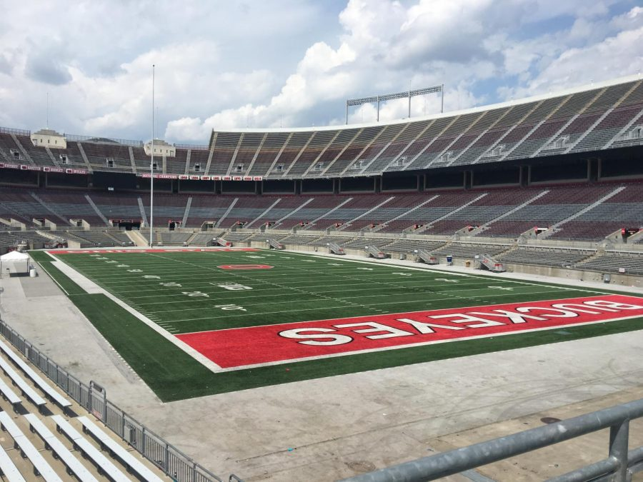 The Ohio State football stadium is practically desolate during the months of quarantine
