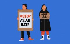 Two protesters drawn with signs reading #stopasianhate and #hateisavirus, trending social media hashtags on the topic of violence towards Asian Americans.
